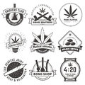 Set of vector marijuana smoking badges. Royalty Free Stock Photo