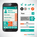 Set of vector mobile flat ui elements design sketch theme Royalty Free Stock Photography