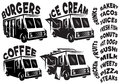 Set of vector mobile shop, vans, food trucks with various inscriptions Royalty Free Stock Photo