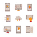 Set of vector mobile tech icons and concepts in flat style Royalty Free Stock Photo