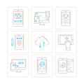 Set of vector mobile tech icons and concepts in mono thin line style Royalty Free Stock Photo