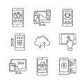 Set of vector mobile tech icons and concepts in sketch style Royalty Free Stock Photo