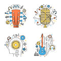 Set of vector music flat line illustrations