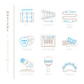 Set of vector musical instrument icons and concepts in mono thin line style