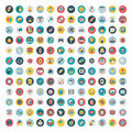Set of vector network and social media icons flat icon cartoon illustration Royalty Free Stock Image