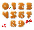 Set of vector numbers in shape of Christmas gingerbreads