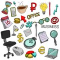 Set of vector office supplies. Collection of stationery in doodle style