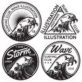 Set of vector patterns for design on theme of water, surfing, ocean, sea Royalty Free Stock Photo