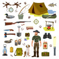 A set of vector pictures on the topic of hunting. Hunter with a dog and a gun, accessories of a hunter and a fisherman.