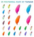 Set of vector polygonal maps of Taiwan.