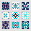 Set of vector Portuguese tiles. Beautiful colored patterns for design and fashion with decorative elements