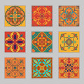 Set of vector Portuguese tiles. Beautiful colored patterns for design and fashion with decorative elements Royalty Free Stock Photo