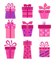 Set of vector present boxes collection Royalty Free Stock Image
