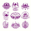 Set vector purple illustrations, sign for Ramadan Kareem with lantern, towers of mosque, crescent Royalty Free Stock Photo