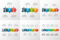 Set of vector puzzle style timeline infographic templates
