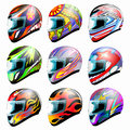 Set of vector racing helmet Royalty Free Stock Photo