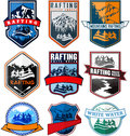 Set of vector rafting emblems labels