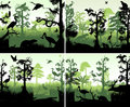 Set of vector rainforest wetland in sunset design template with animals