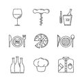 Set of vector restaurant icons and concepts in sketch style Royalty Free Stock Photo