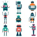 Set of vector robots in cartoon style. Isolated vector robots in a white background