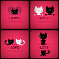 Set of vector romantic cards with two cute cats in love Royalty Free Stock Photo