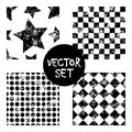 Set of vector seamless patterns Creative geometric black and white backgrounds with squares,stars,circles.Texture with attrition,