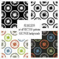 Set of vector seamless patterns with mechanism of watch. Creative geometric grunge backgrounds with gear wheel. Texture with crack