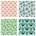 Set of vector seamless patterns. Steering wheel, life preserver, anchor, rope. Creative geometric backgrounds, nautical theme. Gra