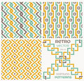 Set of vector seamless textures in retro style eps illustration Royalty Free Stock Photo
