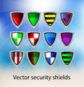Set of vector security shields over background Stock Photo
