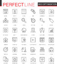 Set of Vector SEO Search Engine Optimization thin line web icons set. Outline stroke icon design.