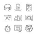Set of vector service or support icons and concepts in sketch style Royalty Free Stock Photo