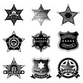 Set of vector sheriff or marshal badges and stars police american law policeman rank officer illustration Royalty Free Stock Image