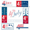 Set of vector signs, badges and banners for the 4-th of july cel