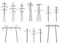 Set of vector silhouettes of pylons power line. Royalty Free Stock Photos