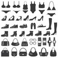 Set of vector silhouettes: shoes, swimwear and acc Royalty Free Stock Photo