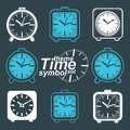 Set of vector simple elegant inverse table clocks. Royalty Free Stock Photo