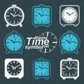 Set of vector simple elegant inverse table clocks. Royalty Free Stock Photo