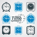 Set of vector simple elegant table clocks. Royalty Free Stock Photo
