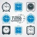 Set of vector simple elegant table clocks. Royalty Free Stock Photo