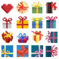 Set of vector simple pixel presents box. Royalty Free Stock Photo