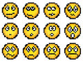 Set of vector simple yellow pixel smiley.