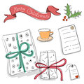 Set of vector sketch gifts hand drawn elements for your festive design christmas Royalty Free Stock Photography