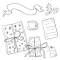 Set of vector sketch gifts hand drawn elements for your festive design christmas Stock Photos
