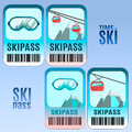 Set of vector ski pass template design. Royalty Free Stock Photo