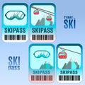 Set of vector ski pass template design.