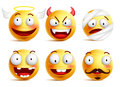 Set of vector smileys with funny faces like angel and demon Royalty Free Stock Photo