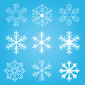 Set of vector snow flakes Royalty Free Stock Image