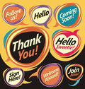Set of vector speech bubbles with promotional messages Stock Photography