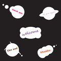 Set of vector speech bubbles. Thank you. Welcome. See you again. The end. Thanks. Black background. White bubbles. text.